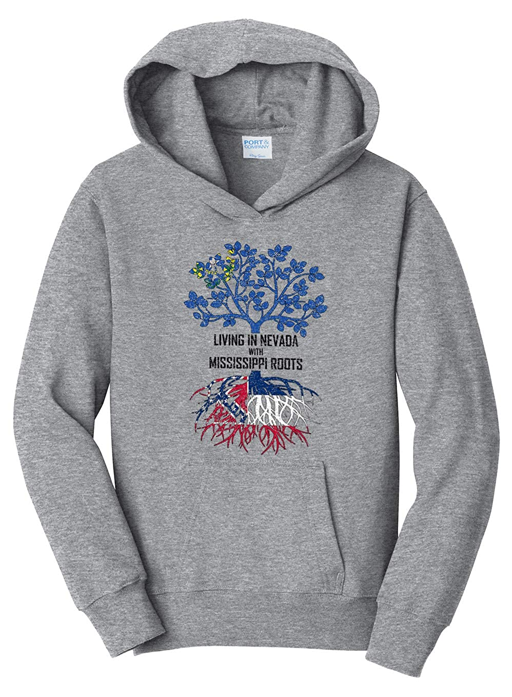 Tenacitee Girls Living in Nevada with Mississippi Roots Hooded Sweatshirt