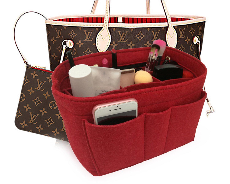 Felt Insert Fabric Purse Organizer Bag, Bag Insert In Bag with Zipper Inner Pocket Red M by LEXSION