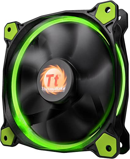 Thermaltake 120MM 1500 RPM ventilador 3-Pin LED verde - negro ...