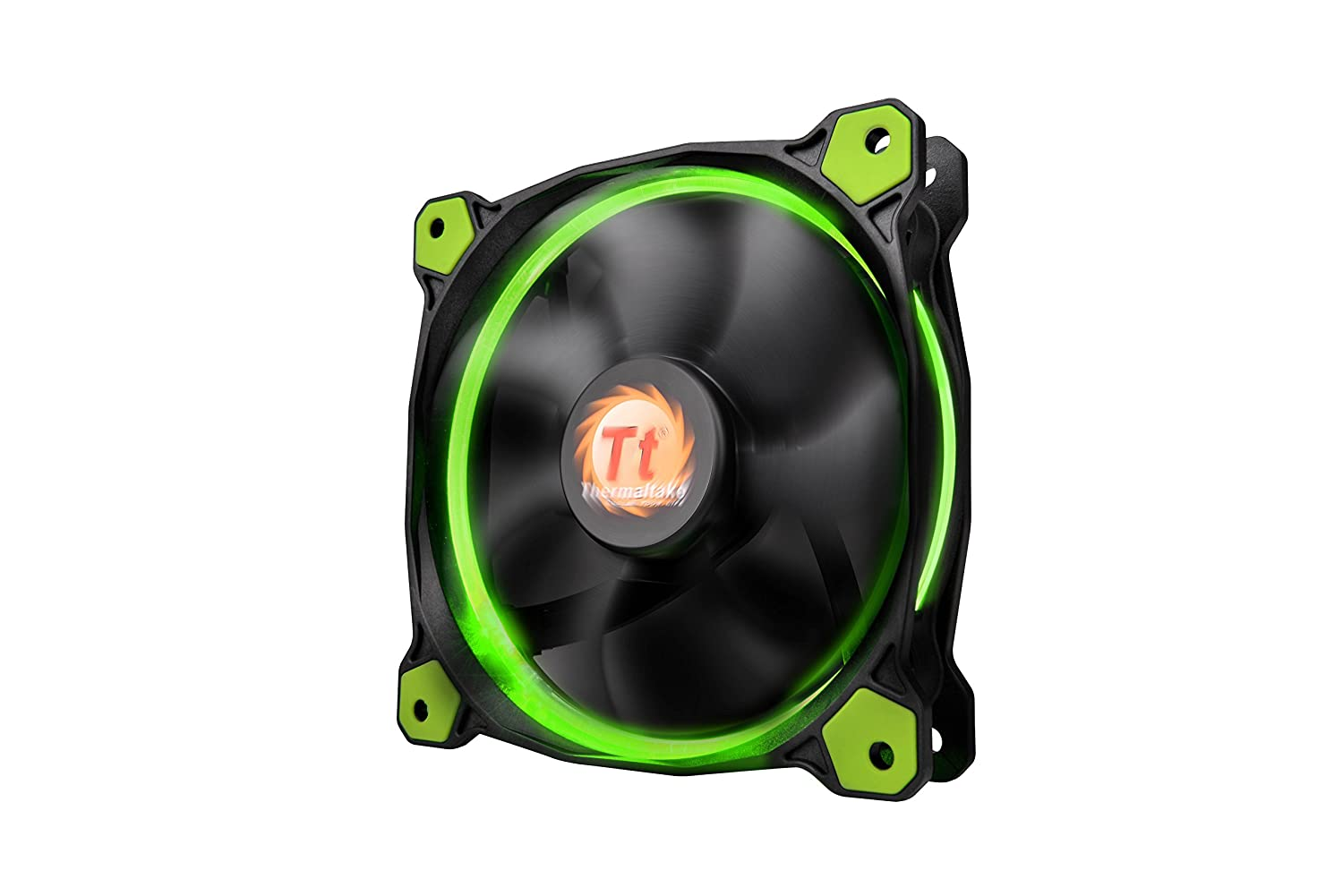 Thermaltake Riing 12 Series High Static Pressure 120mm Circular LED Ring Case/Radiator Fan with Anti-Vibration Mounting System Cooling CL-F038-PL12GR-A Green