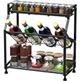 Spice Rack, GSlife 3-Tier Spice Rack Organizer for Counter Stable Spice Shelf Standing Storage Rack for Kitchen, Black