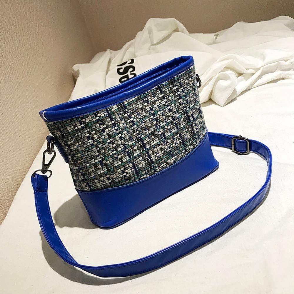 CreazyBee Elegant Fashion Weave Splice Bag Women Girl Pure Color Leather Mini School Shoulder Bag Handbag Black