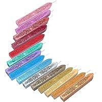 Yoption - 5 barras de cera para sellado de manuscrito de fuego con mechas multicolor, cera para sellar la mecha, estilo retro, clásico, para sello de cera
