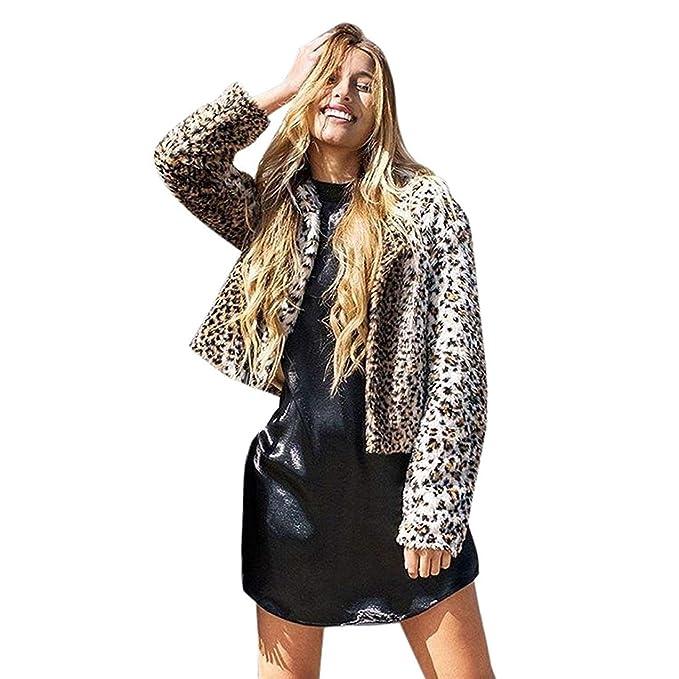 Chaqueta De Piel Mujer Invierno Elegante Ropa Moda Corto Abrigos Piel Sintética Leopardo Estampadas Manga Larga
