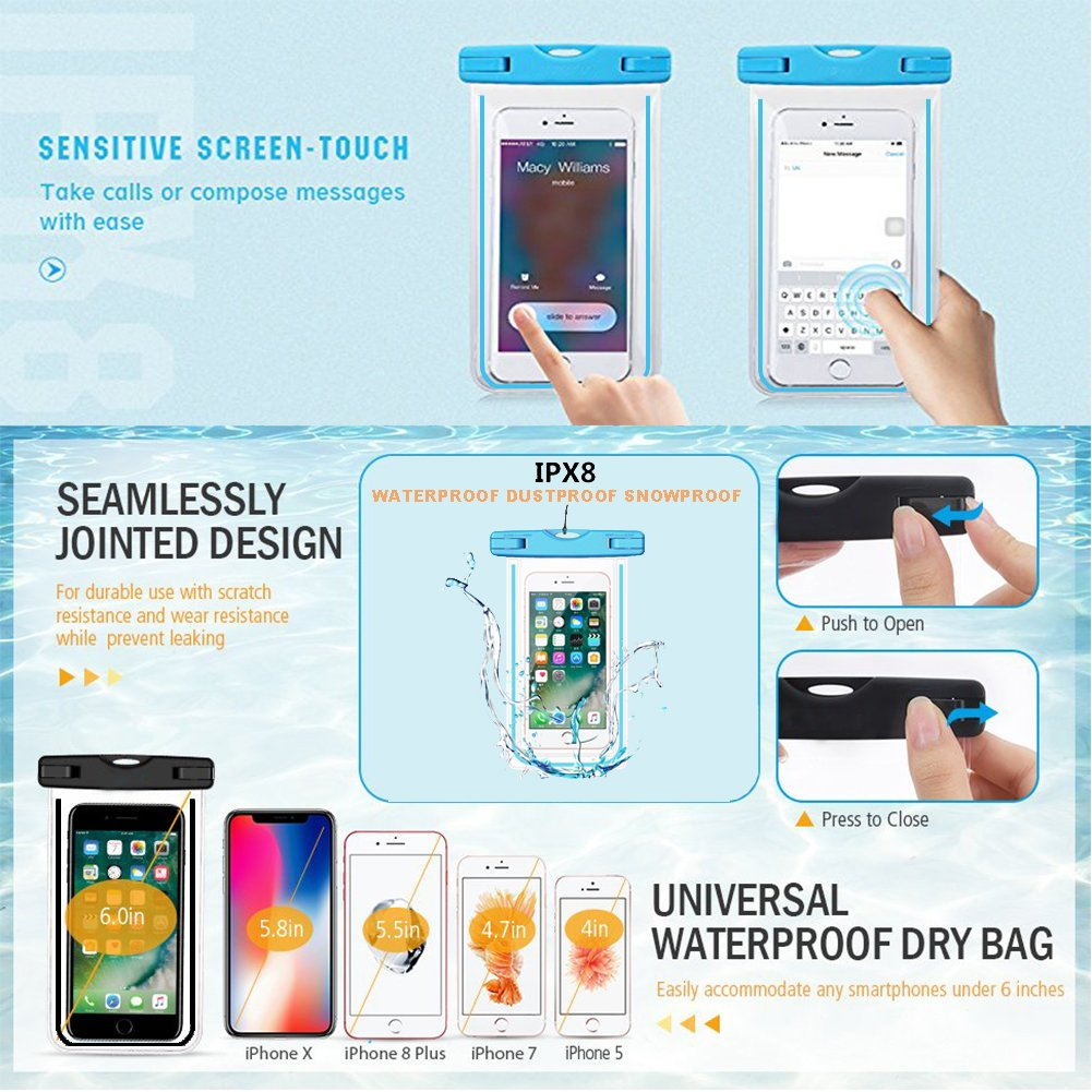 LENPOW Waterproof Case, New Type PVC Water proof Phone Pouch, Universal Clear Cell Phone Dry Bag with Luminous Ornament for iPhone X 8 7 6 Plus, Samsung Galaxy s9 s8 , Google Pixel, LG, HTC (2-Pack)