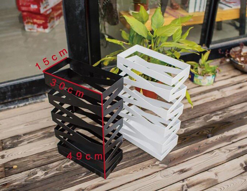 Dongy Creative Small Umbrella Stand Hotel Lobby Household Iron Art Umbrella Barrel Umbrella Shelf-standing With Drip Tray Color : White Square-30x15x49cm storage holder