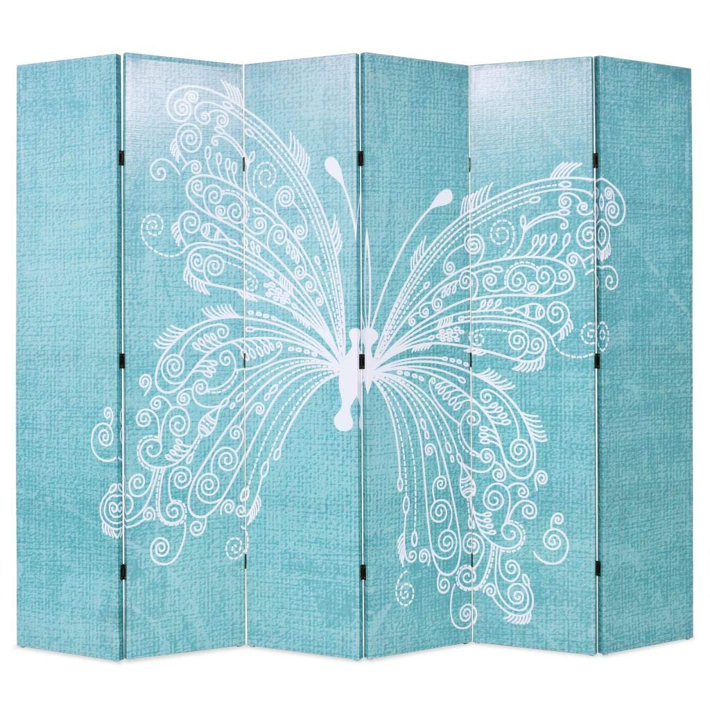 Festnight Folding Room Divider Standing Partition Privacy Screen - Blue Butterfly Print (3-Panel)
