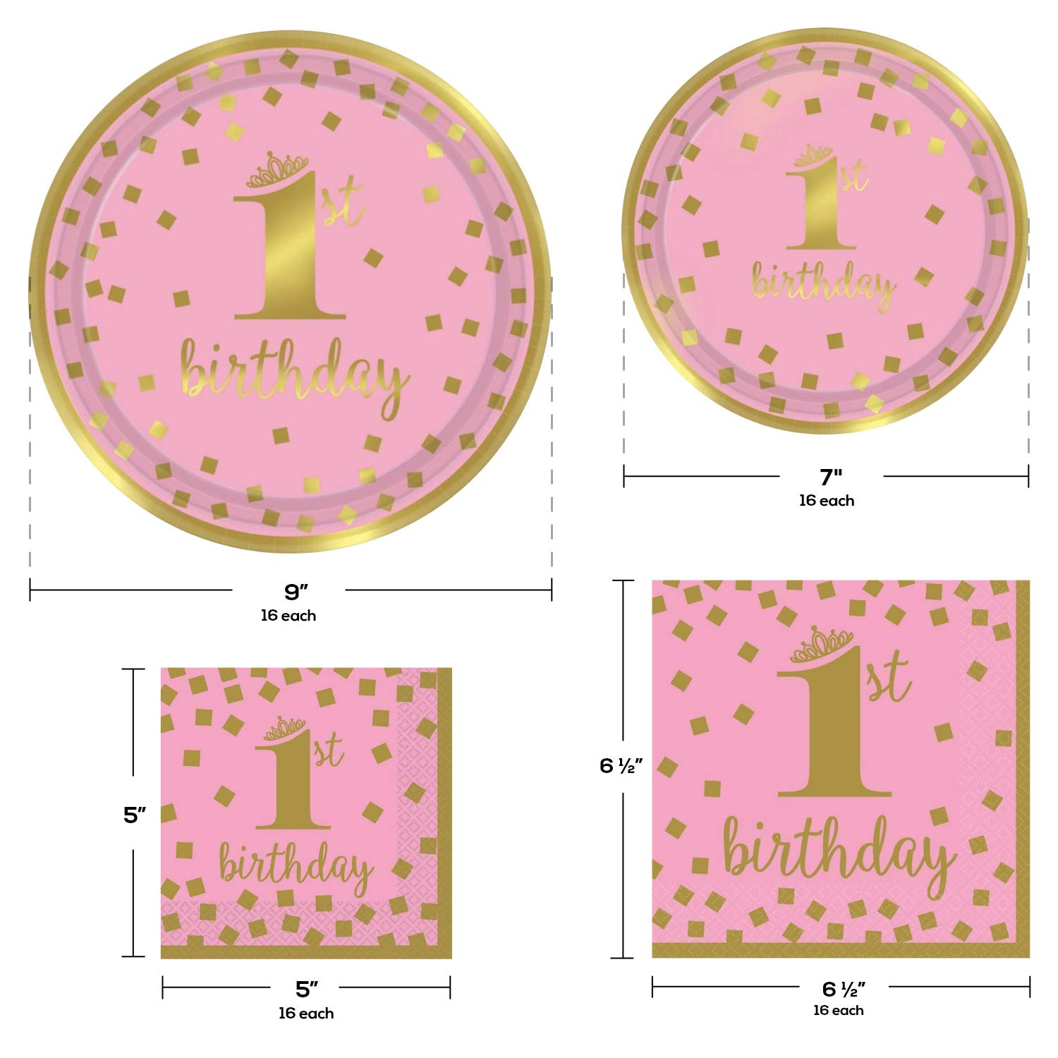 1st Birthday Girl Party Supplies, Pink and Gold Design, Bundle of 4 Items: Dinner Plates, Dessert Plates, Lunch Napkins and Beverage Napkins by TwoTwelve Products (Image #2)