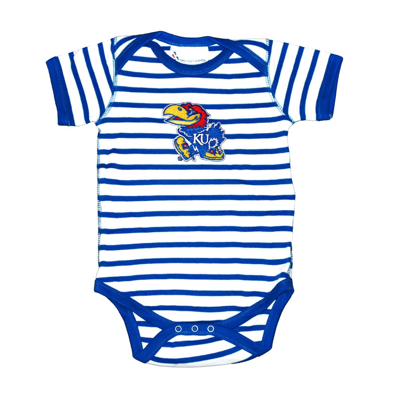 Kansas Jayhawks Striped NCAA College Newborn Infant Baby Creeper