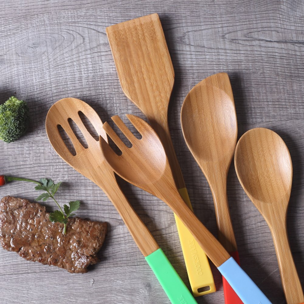 Wooden Spoons and Spatula Utensil Set with Multicolored Silicone Handles in Red Yellow Green Orange Blue COOKSMARK 5 Piece Bamboo Wood Nonstick Cooking Utensils