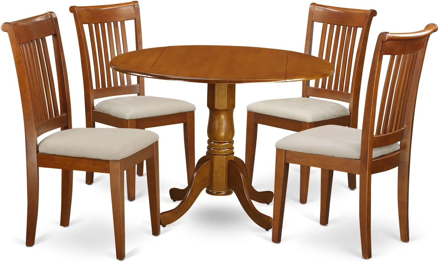 DLPO5-SBR-C 5 PC Kitchen Table set-small Kitchen Table-plus 4 dinette Chairs