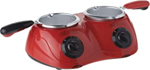 Total Chef CM20G Deluxe Chocolatiere Electric Fondue with Two Melting Pots (Red)