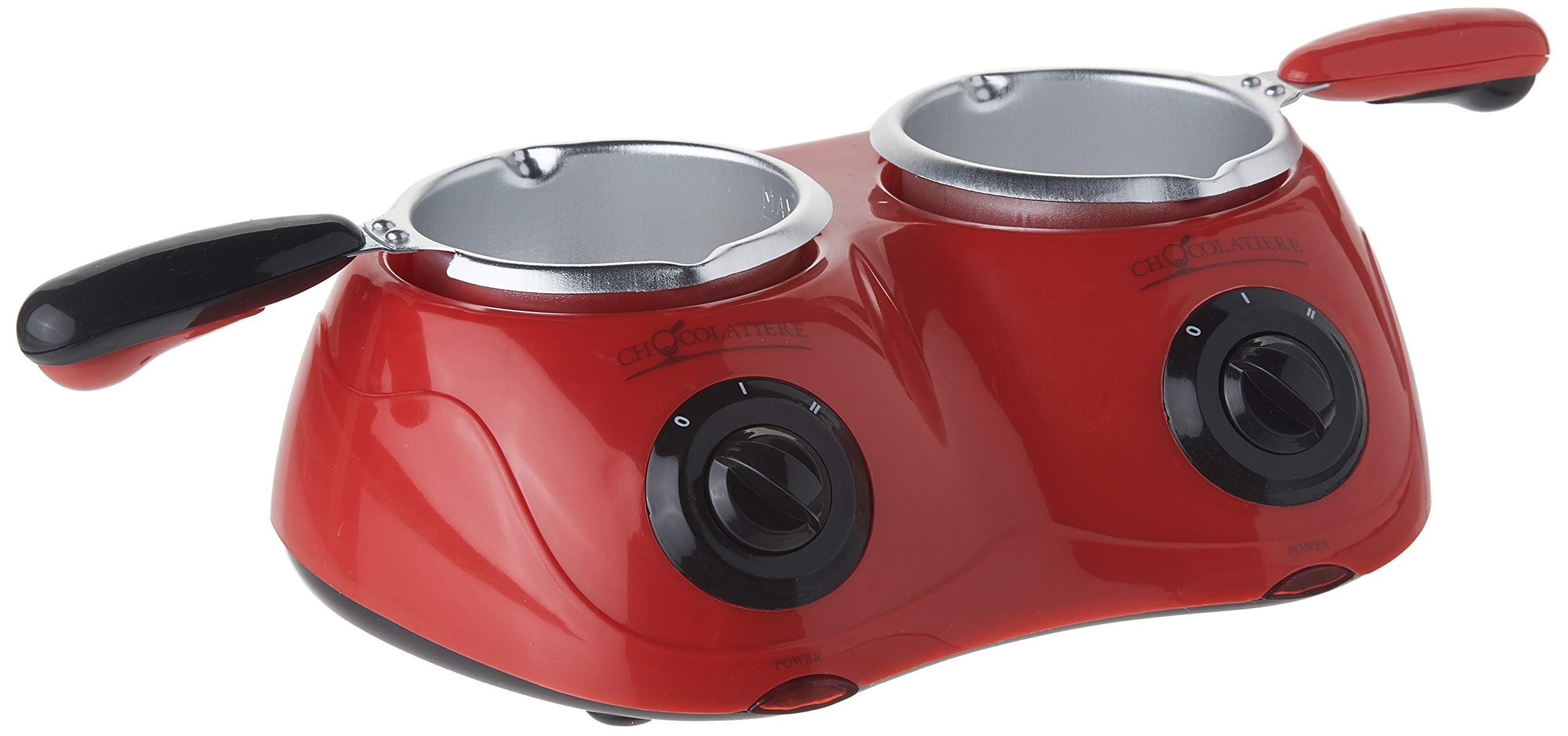 Total Chef CM20G Deluxe Chocolatiere Electric Fondue with Two Melting Pots (Red) by Koolatron