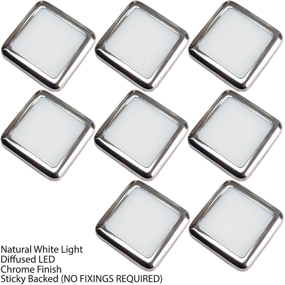 6 Pack Stainless Steel /& Natural White Bathrooms /& Kitchen Skirting Kickboard Spot Lights Loops Square LED Mini Plinth Light /& Driver Kit Recessed//Flush Cabinet Counter Panel Lighting
