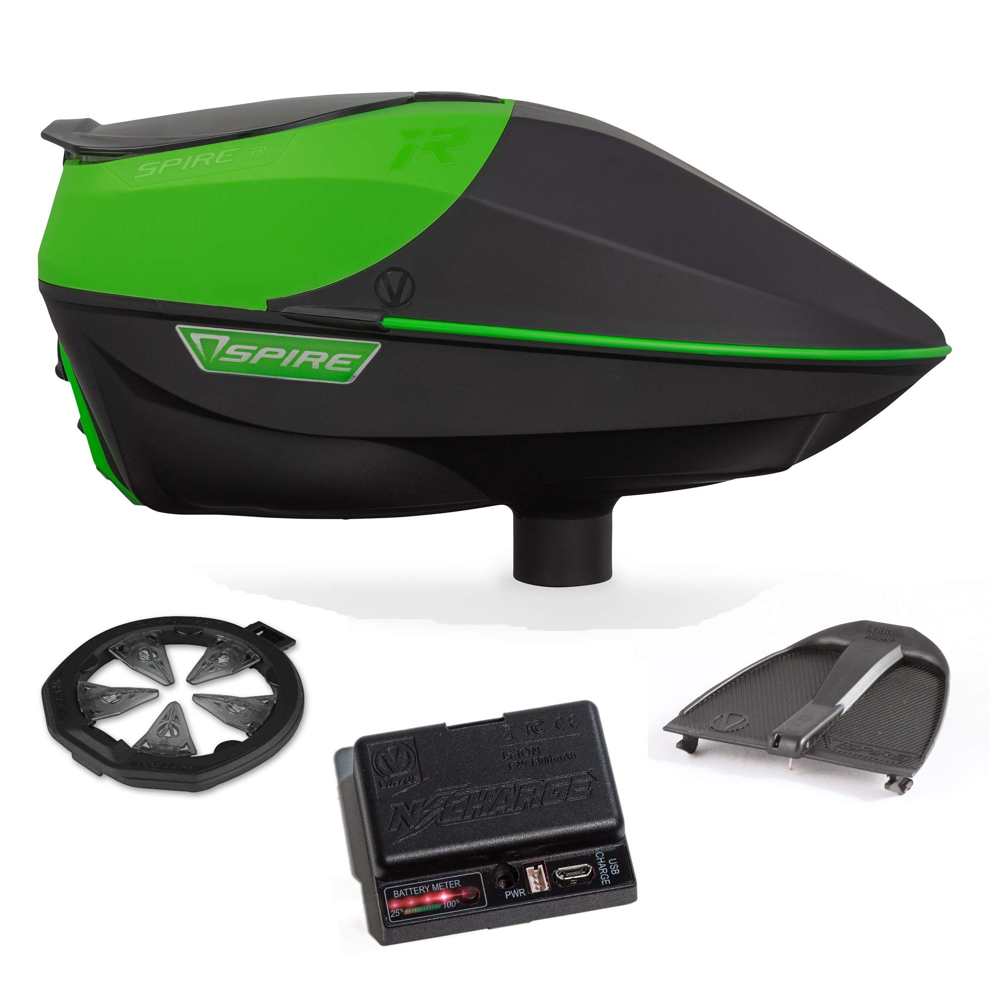 Virtue Spire IR Electronic Paintball Loader, CrownSF II Speedfeed, N-Charge Battery Pack and Spring Ramp Bundle - Lime by Virtue Paintball
