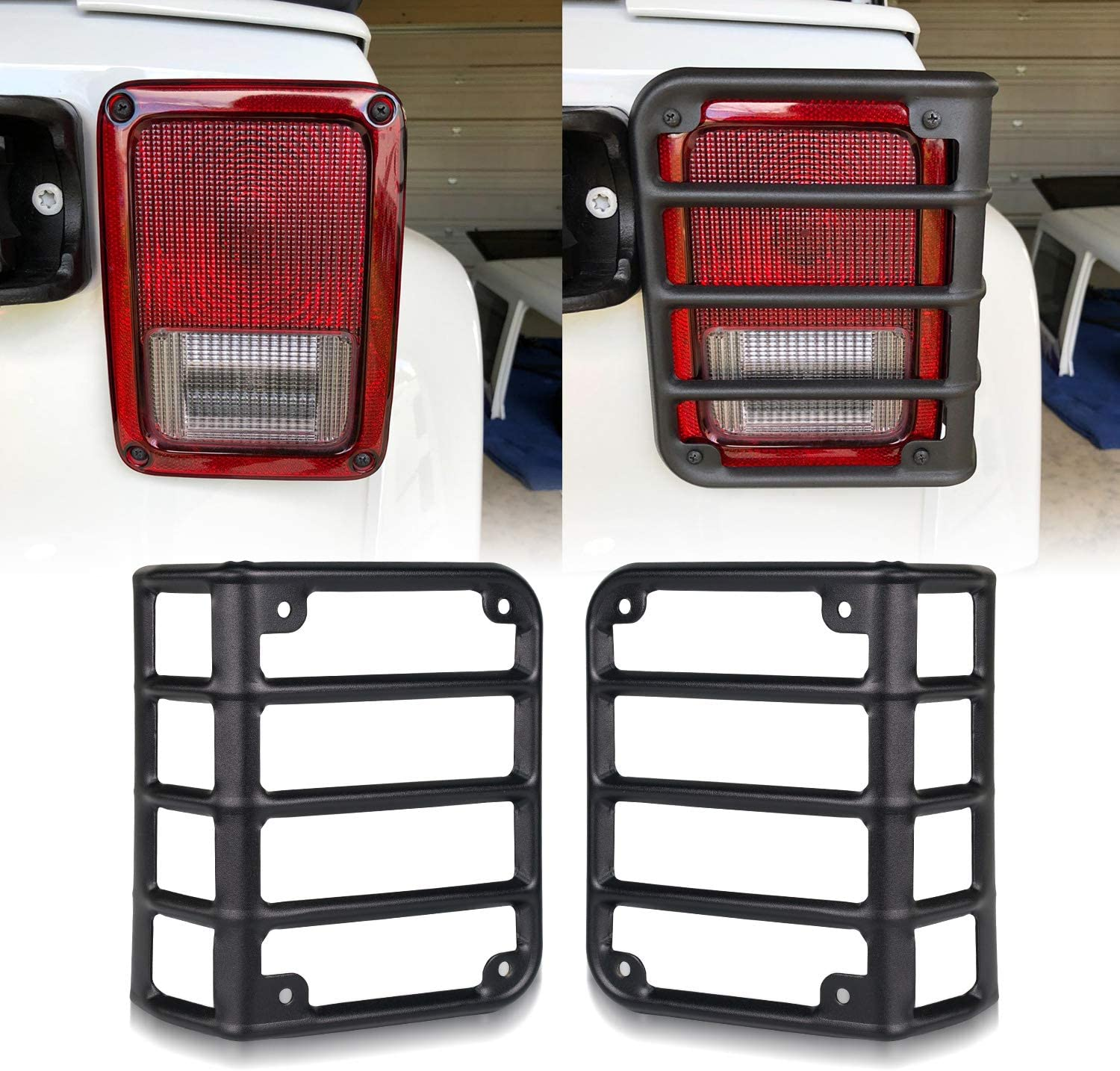 Jeep Wrangler Tail Light QUAKEWORLD Pair Tail Light Covers Guard Stainless Steel for 2007-2018 Jeep Wrangler JK Unlimited Black Automotive Accessories Jeep Rear Tail Light Protectors Guards Cover
