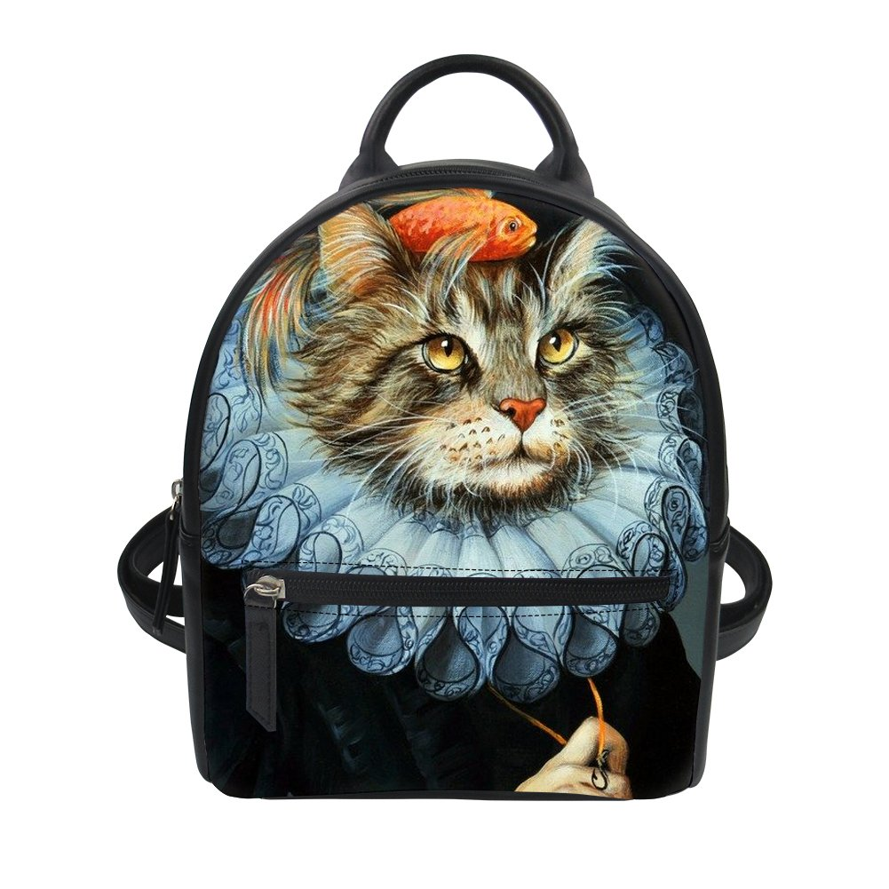 UNICEU Fashion Cat Backpack Mini Leather Shoulder Bag for Women Ladies Outdoor Casual Travel