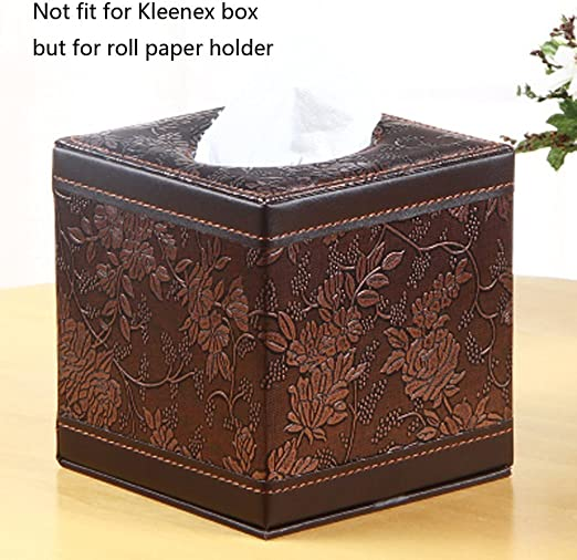 Talla de Plata MJ-Brand Tissue Cover Box Square PU Leather Tissue Holder para Home Office Car
