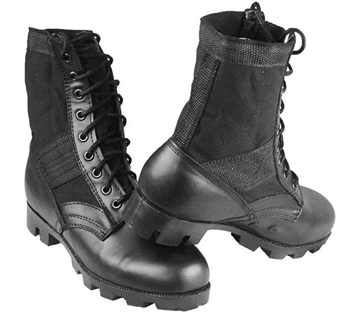 Botas de Jungla, de Lona Militar y Cuero, con Suela de Goma Antiobstrucción: Amazon.es: Zapatos y complementos