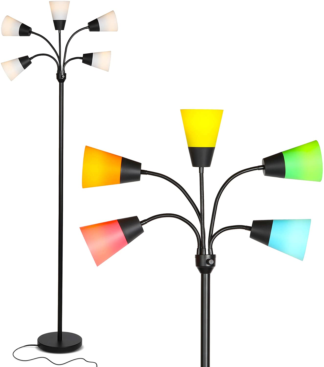 Brightech Medusa Modern LED Floor Lamp – Contemporary Multi Head Standing Reading Lamp for Living Room, Bedroom, Kids Room - Includes 5 LED Bulbs and 5 White & Colored Interchangeable Shades – Black