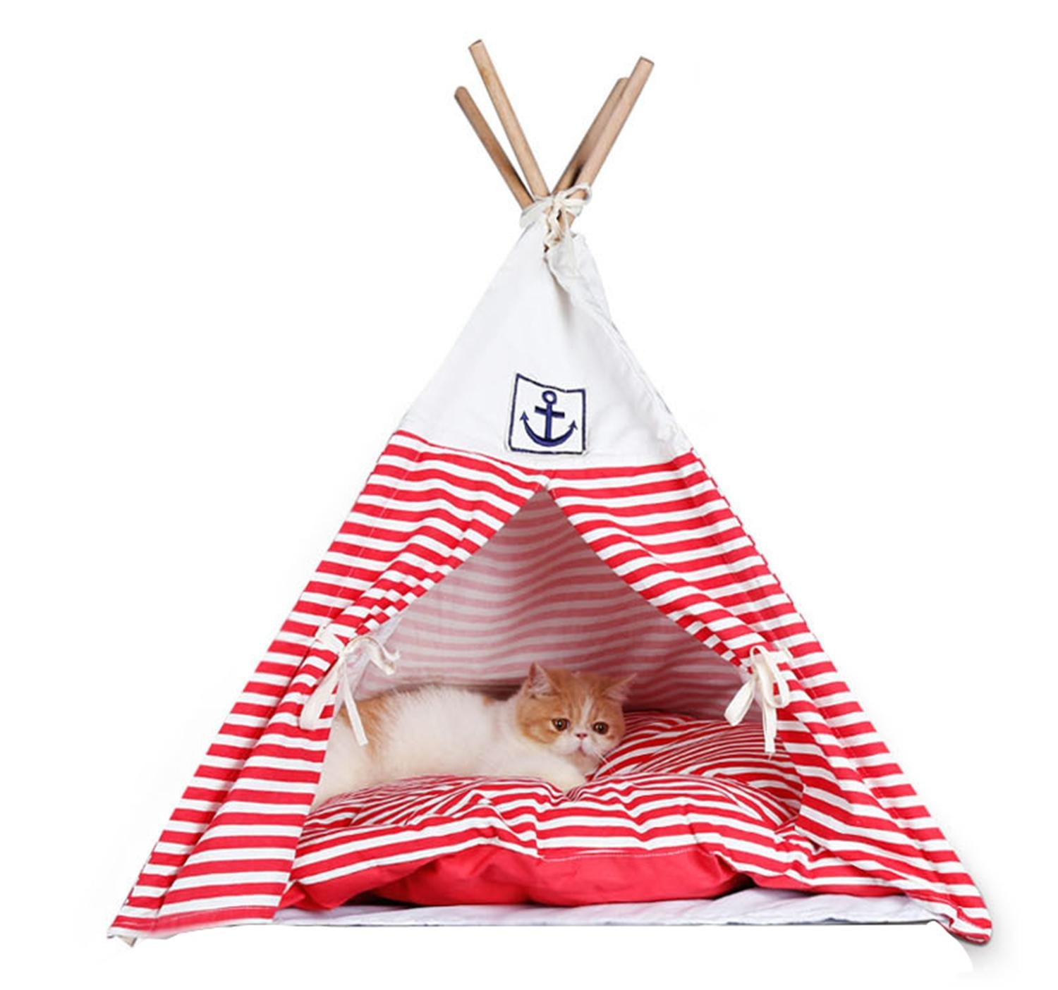 Red Pet Tent Wooden Stripe Style Dog Cat House With Soft Washable Mat Kennel For Small Dog , red