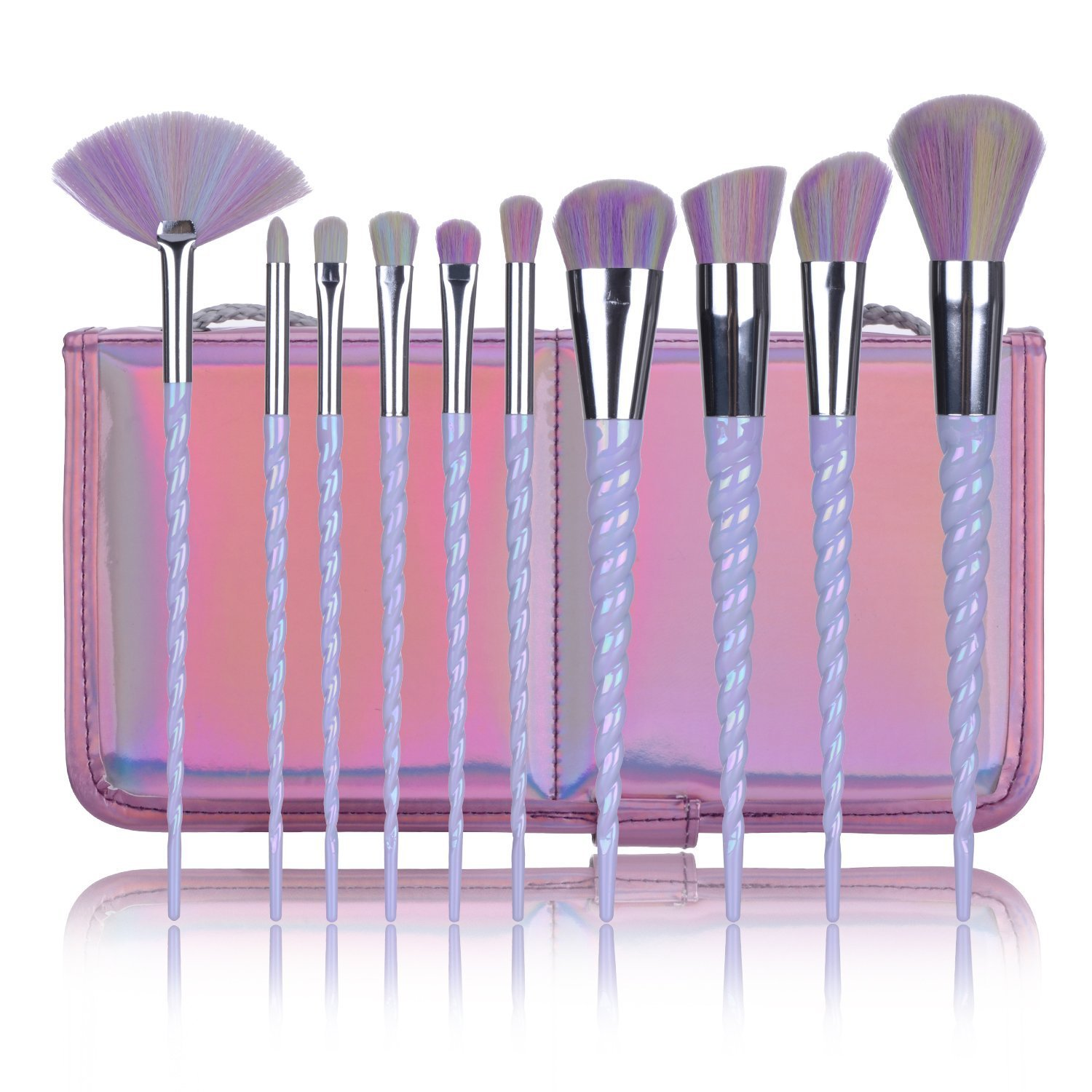 BYBOO 10Pcs Make up Brush Set Unicorn Design Rainbow Synthetic Hair Foundation Eyebrow Eyeliner Eyeshadow Blusher Face Lip Beauty Brushes with Carrying Case