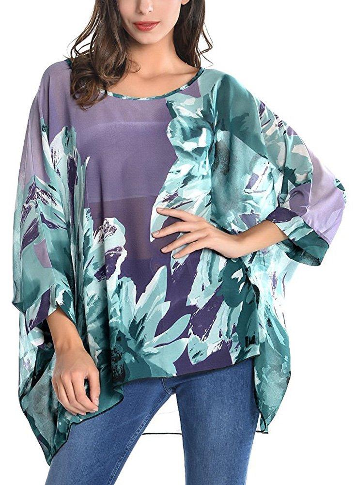 Wiwish Women's Bohemian Style Summer Beach Lagenlook Top Kimono Loose Waterfall Chiffon Kaftan Poncho Shirt,One Size,Tmzlh258