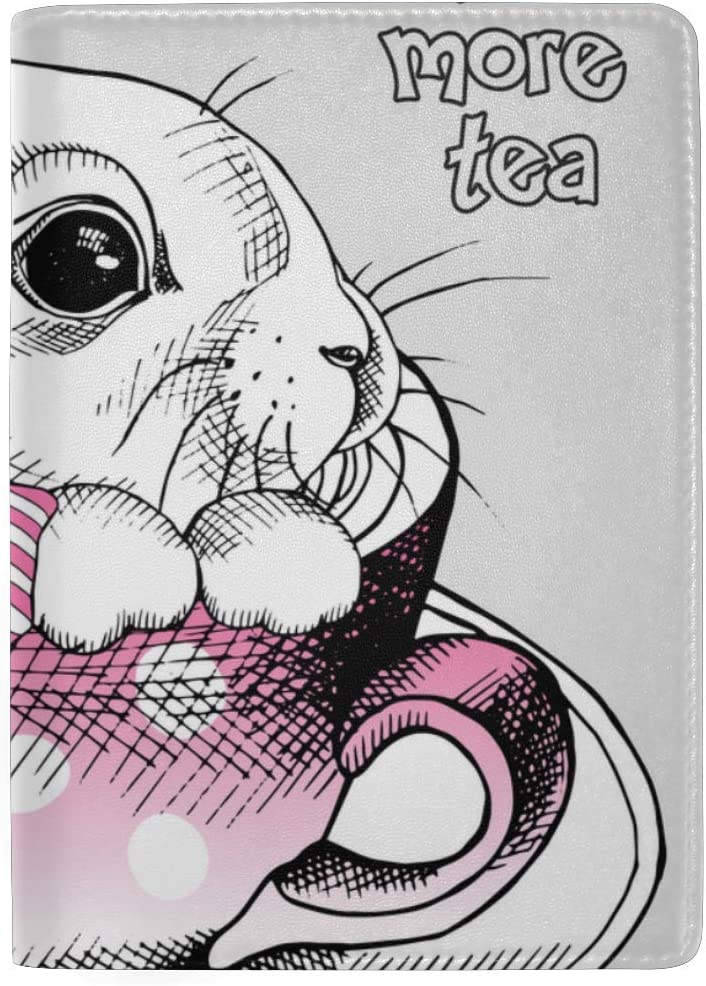 Cute Hand Drawn Bunnies In A Cup Blocking Print Passport Holder Cover Case Travel Luggage Passport Wallet Card Holder Made With Leather For Men Women Kids Family