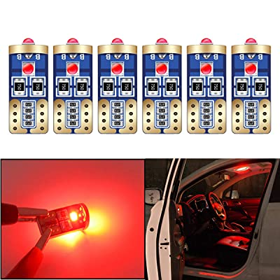 HOLDCY T10 194 LED Light Bulbs - Super Bright Red 3030 Chipsets,W5W 168 LED Replacement Bulbs,Canbus Error Free - for Car Interior Light,Dome Lamp,Door Marker License Plate Lights (Pack of 6): Automotive