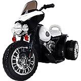Homcom® Elektro Kindermotorrad Elektromotorrad Kinderelektroauto Kinderfahrzeug Dreirad, 6V, Metall+PP, Schwarz+Weiß, 80x43x54,5cm