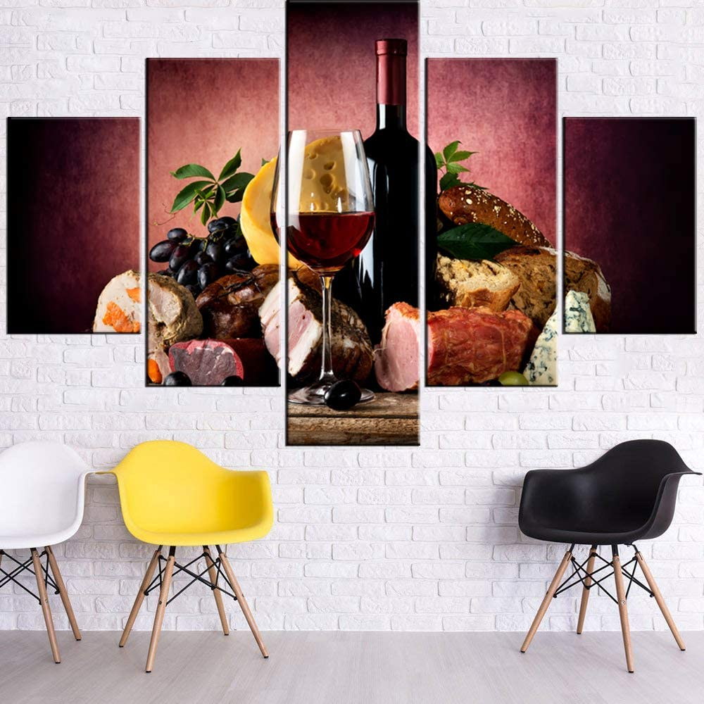 Pictures for Living Room Red Wine and Cheese Food Paintings Multi Panel Prints on Canvas Wine Cup Bottle Wall Art Contemporary Artwork House Decor Framed Gallery-Wrapped Ready to Hang(60''Wx40''H)