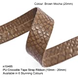 Neotrim PU Faux Imitation Leather Crocodile Croc Skin Tape Trimming Ribbon Strap, Now in 6 Gorgeous colours, Stunning Texture Finish, Striking Embellishment