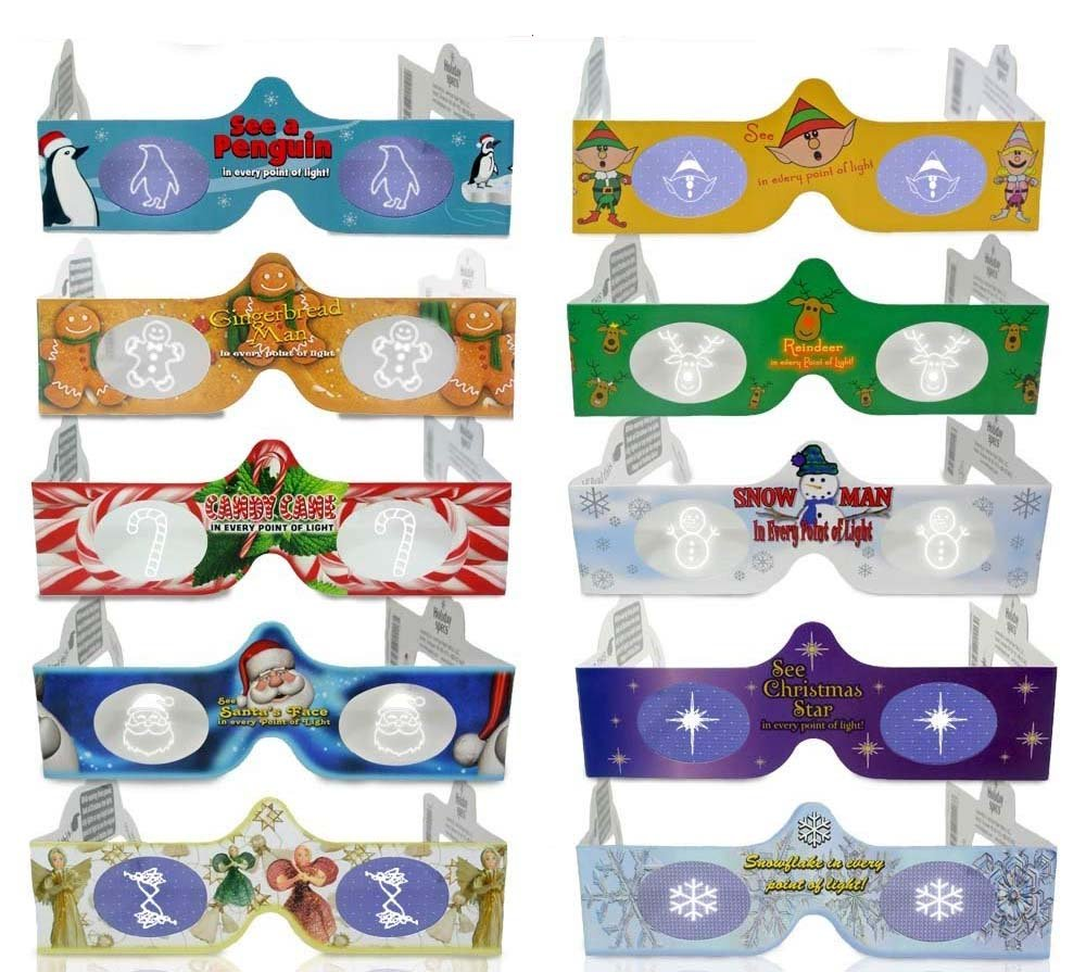 3D Christmas Glasses 10 Pack - Turn Holiday Lights Into Magical Images For A Fun Christmas Experience. Our Holographic Glasses Are Perfect For Entertaining Family, Friends & Colleague by Holiday Specs