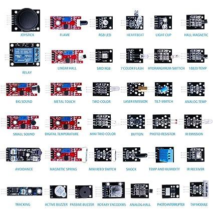 Kit de módulos sensores 37 en 1, con tutorial en PDF (idioma