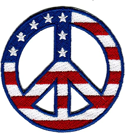 "3 1//4/"" US American Flag Peace Sign Embroidery patch"