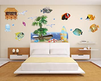 Home Decor 3D Wall Decals Seaside Landscape With Ocean Fish Boat Surfboard Removable DIY Room Art