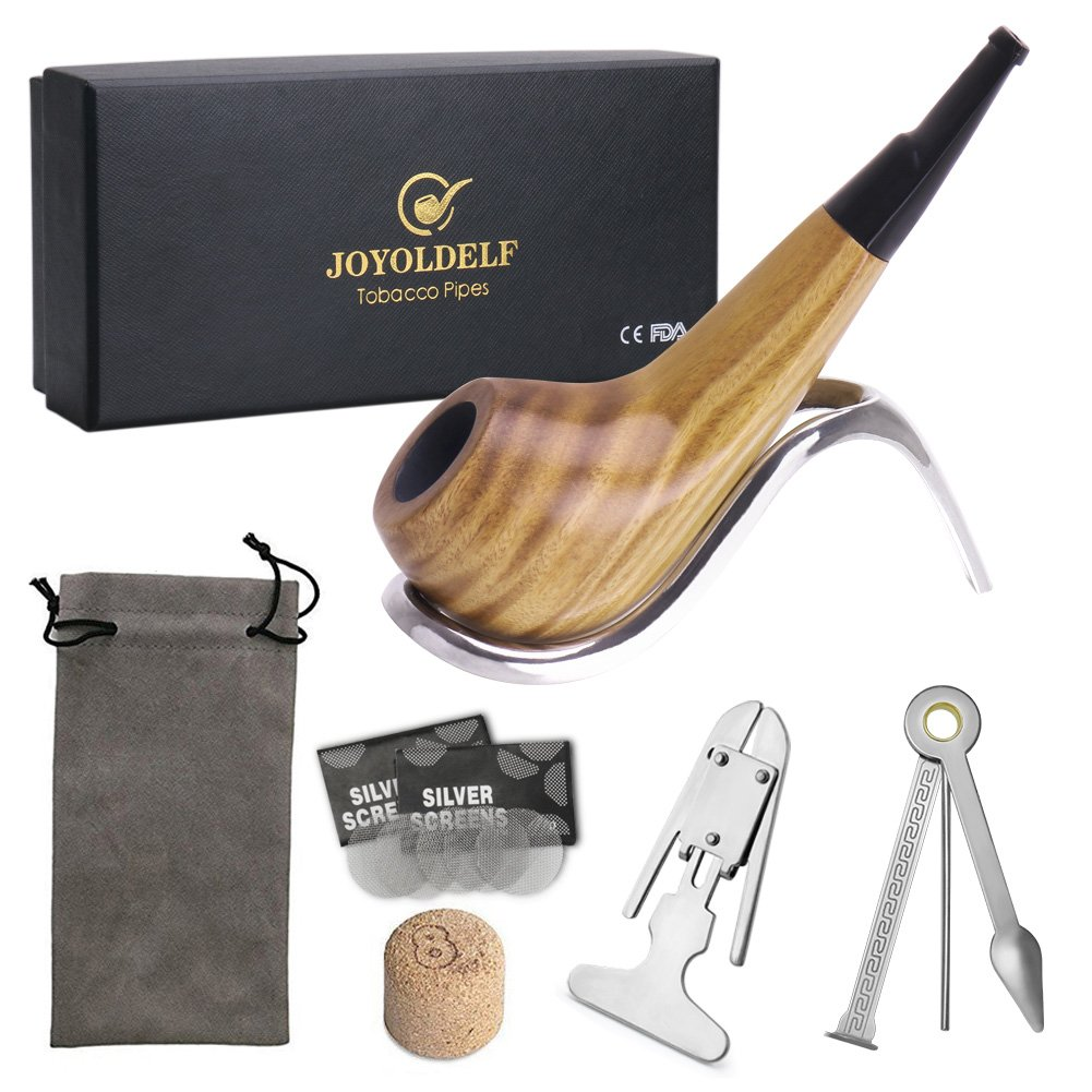 Joyoldelf Small Shiny Tobacco Pipe Set, Wooden Pipe with Stainless Steel Pipe Displaying Stand Rack, Cleaning Tool, Pipe Screens and Cork Knocker