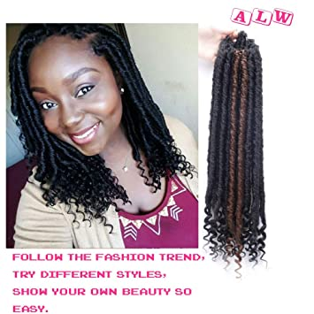 Ailewei Faux Locs Crochet Braiding Hair Curly Dreadlock Middle Length Faux Locs Nature Goddess Locs Crochet Hair Braids Synthetic Hair Extensions 21