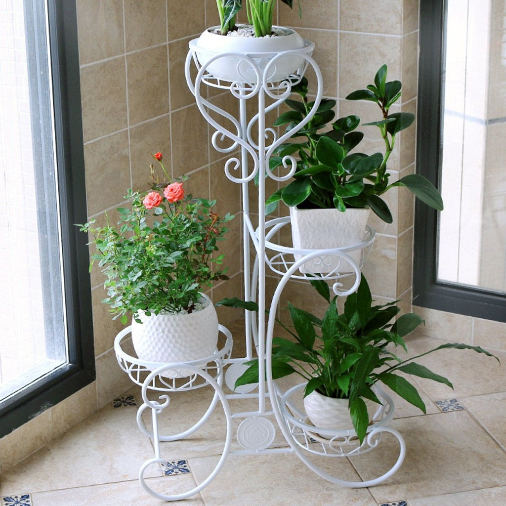 Amour Light Flower Stand Shelf Multi piano in metallo dipinto Flower Pot Frame Ferro Indoor Balcone Living Room Plant Display Rack (colore   Bianca, dimensioni   492482cm)