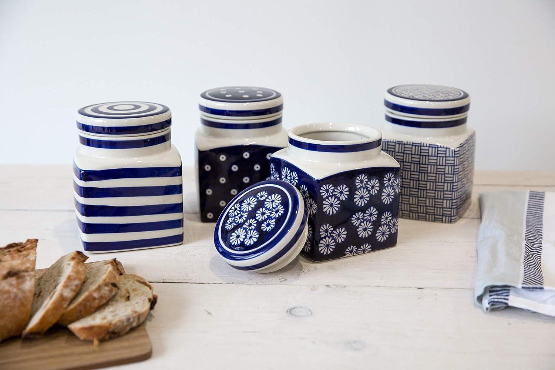 cer/ámica dise/ño de Margaritas peque/ñas Recipiente para caf/é o t/é 11,5 x 11,5 x 15,5 cm Color Azul Marino London Pottery