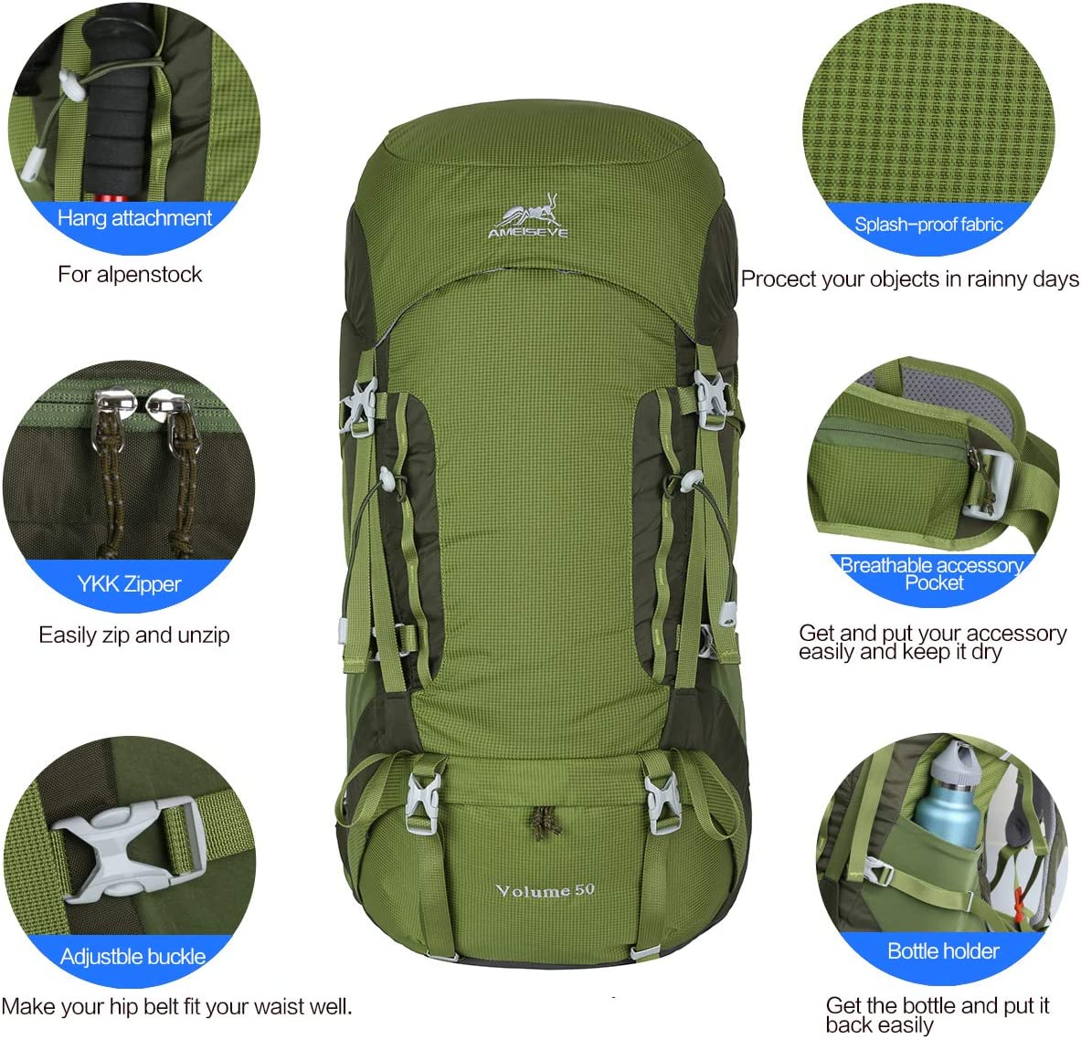 Eshow 50L Mochilas de Monta/ña Acampada al Aire Libre Impermeable Macutos de Viaje Senderismo Trekking con Cubierta de Lluvia