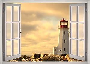 West Mountain Lighthouse View Window 3D Wall Decal Art Removable Wallpaper Mural Sticker Vinyl Home Decor W33 (Medium (32''W x 23''H))