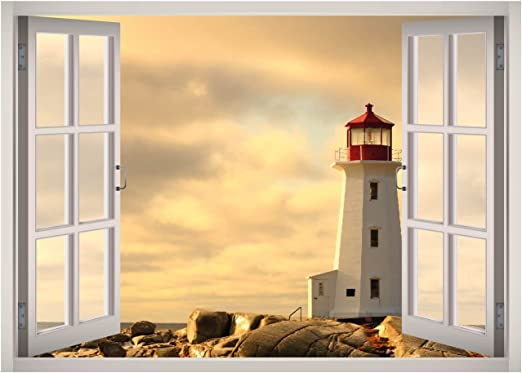3D Window Lighthouse Room Home Decor Removable Wall Stickers Decals Decoration
