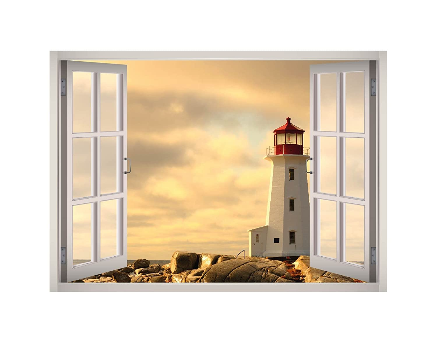 Amazon com lighthouse view window 3d wall decal art removable wallpaper mural sticker vinyl home decor west mountain w33 small 24w x 17h home