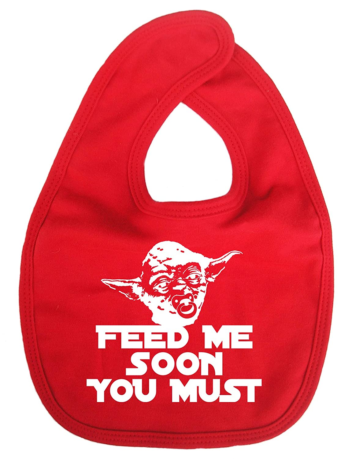 Dirty Fingers, Feed me soon you must, Yoda, Baby Unisex Bib, Red DFBIBfeedmesoonR