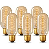 T45 Vintage Edison Light Bulb 40 Watt Dimmable Incandescent Old Fashioned Light Bulb, E26 Base, Antique Style, Amber Tube, Wa