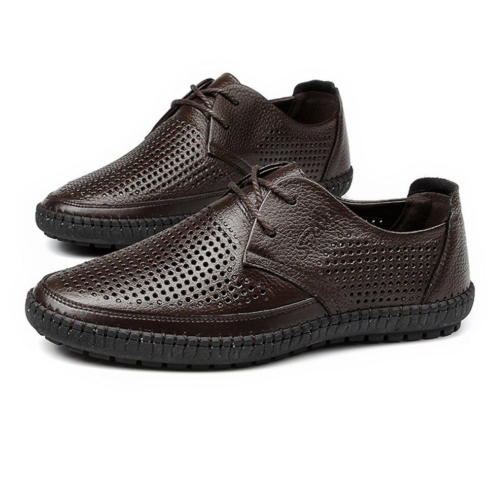 Sunny&Baby Zapatos de punta redonda para hombre de cuero genuino de piel de vaca superior Slip-on piso único holgazán para caballeros Resistente a la abrasión (Color : Marrón, tamaño : 38 EU) 38 EU|Marrón