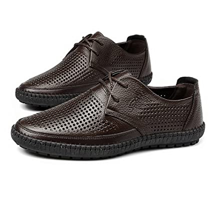 Hongjun-shoes, Zapatos de Punta Redonda para Hombre de Cuero Genuino de Piel de Vaca Superior Slip-on Piso único holgazán para Caballeros, Mocasines para ...