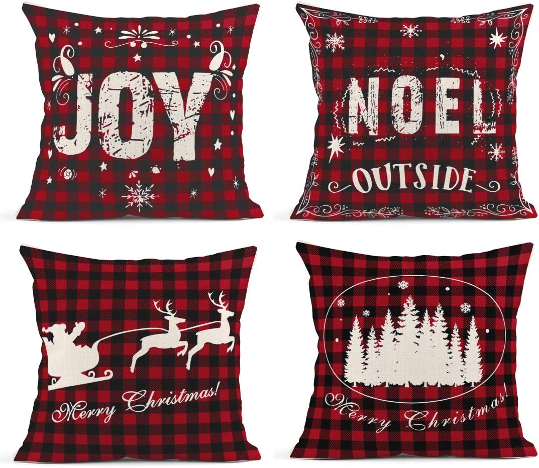 Britimes Throw Pillow Covers 18x18 Inches Christmas Home Decor Set of 4 Pillow Cases Decorative for Bed Sofa Cushion Couch Winter Outdoor Buffalo Plaid Pillowcases (Black and Red)