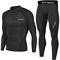 1Bests Men's Sports Running Set Compression Shirt + Pants Skin-Tight Long Sleeves Quick Dry Fitness Tracksuit Gym Yoga…